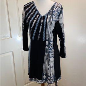 Parsley & Sage Cotton 3/4 Sleeve Tunic Large